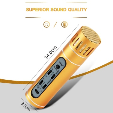 Sunshine-tipway STW Condenser Microphone Mic Karaoke Player Recording Omni KTV Singing for iOS Android PC Computer