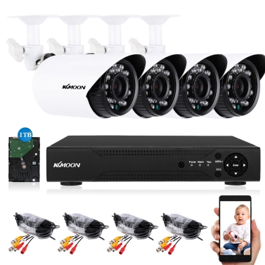 KKmoon 4CH H.264 Full 1080 N DVR + 4 * 1500TVL Wasserdichte CCTV Bullet Kamera + 4 * 60 ft Überwachungskabel + 1 TB Seagate Festplatte