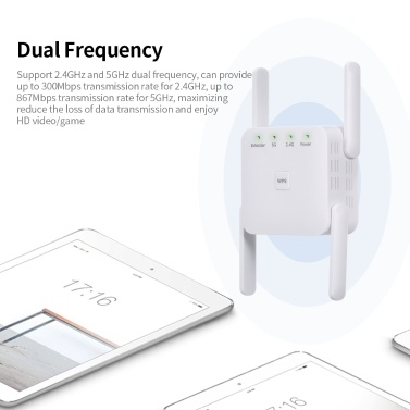 1200Mbps 2.4G 5G Dual Frequency WiFi Repeater WiFi Extender Wireless Signal Booster White for Home Office Use US Plug