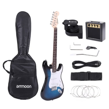 ammoon Full Size Electric Guitar Set JOYO JT-306 Digital LCD Clip-on Tuner Amplifier Gig Bag Strap Strings Cable