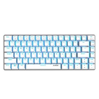 Ajazz AK33 82 Keys USB Wired Mechanical Keyboard Monochromatic Backlight Gaming Keyboard Black with Black Switches