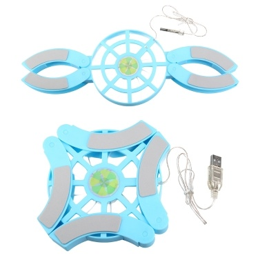 DR-S04 Laptop Cooling Pad Folding Portable Cooling Pad USB Powered Blue Light Effect with Double Fans Cooling Stand Blue
