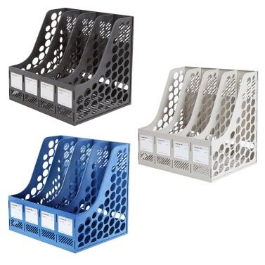 Comix B2174 Office Desktop Plastic Magazine File Literature Holders Organizer Labels 4 Compartment
