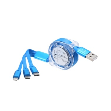 3-in-1 Noodle Design Charging Cable Data Cable MicroUSB Type-C Lightening Charge Data Transfer Cable