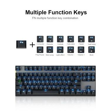Motospeed Wired / Wireless Dual Mode 87 Keys Blue Switch Mechanical Keyboard 2.4G Wireless Backlit Gaming Keyboard Built-in Rechargeable Battery Aluminium Alloy Panel for Desktop/Laptop (Black)