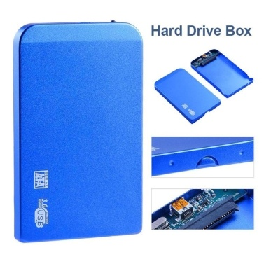 2.5in USB3.0 SATA SSD HDD Hard Drive Box 5Gbps 3TB USB3.0 SATA Portable Hard Drive Box (Blue)