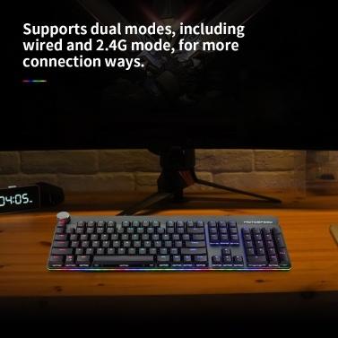 Motospeed GK81 Mechanische Tastatur verkabelt und 2,4 G Dual-Modus-Hintergrundbeleuchtung Low-Profile-RGB-Schalter Tastatur 104 Tasten N-Taste Rollover schwebende Tastenkappen für PC Red Switch