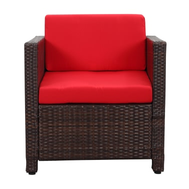 Salon de jardin iKayaa 4 personnes – 2 fauteuils + canapé 2 places ...