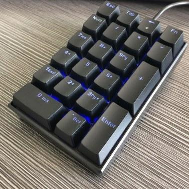 Motospeed K23-Tastatur USB-Kabel Numerische mechanische Tastatur 21 Tasten Blaue Tastatur mit Hintergrundbeleuchtung und blauem OUTEMU-Schalter