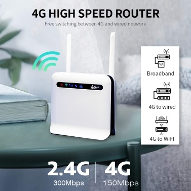 4G LTE Wireless Router 300Mbps High Power Industrial-grade CPE Router with SIM Card Slot External Antennas EU Version