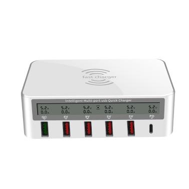 818 Intelligent Multi-port USB Fast Charger Adaptive LCD Display Wireless Quick Charge QC 3.0 Type-C Port US Plug