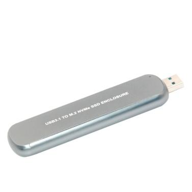 Tragbares Festplattengehäuse USB3.1 bis M.2 NVMe SSD-Gehäuse Aluminiumlegierung Mobiles Festplattengehäuse Silber