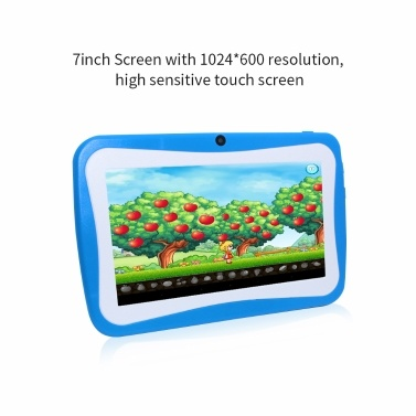 Q768 7 inch Kids Tablet Educational Learning Computer 1024*600 Resolution WiFi Connection with Silicone Case Green EU Plug