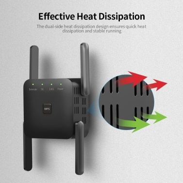 1200 Mbit / s Dual Frequency 2,4G / 5G Wireless Repeater WiFi-Signalverstärker WiFi Range Extender für Home Office Black EU Plug