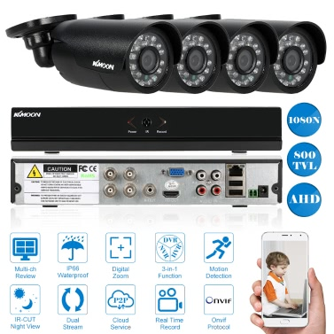 KKmoon 4CH Channel Full AHD 1080N/720P Security System,limited offer $56.99