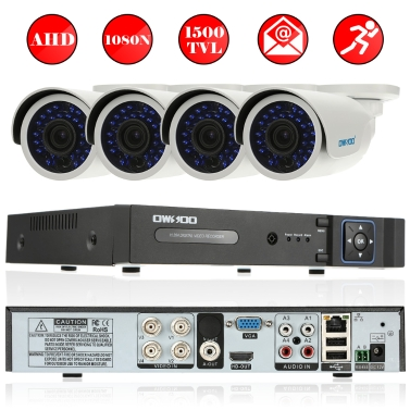 OWSOO 4CH canal complet AHD 1080N / 720P 1500TVL surveillance CCTV système de sécurité DVR