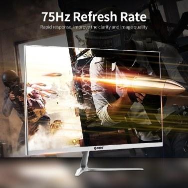 23.8 inch Monitor 1080P IPS Curved Screen Monitor 178° Viewing Angle Eye-caring Computer Display with VGA/HD Interface EU Plug