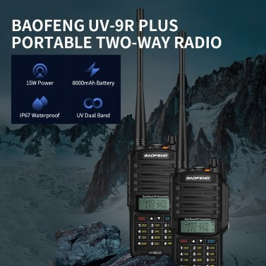 BAOFENG UV-9R Plus Portable Two-way Radio Dual Band Handheld Walkie Talkie FM Transceiver IP67 Waterproof Dustproof EU Plug