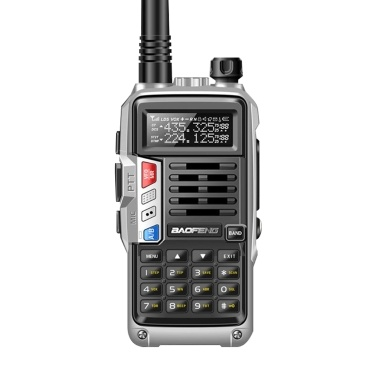 BAOFENG UV-S9 III Handheld Walkie Talkie Tri-Band 10W Ham Radio 2 Antenna 10KM Long Range VOX Function 128CH Silver,u00a0EU Plug