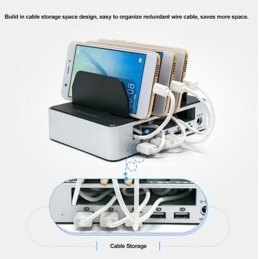 OImaster 5 Multi Ports Universal Detachable USB Charging Station Stand Holder Desktop Charger for Phone Tablet EU Plug Black with Grey