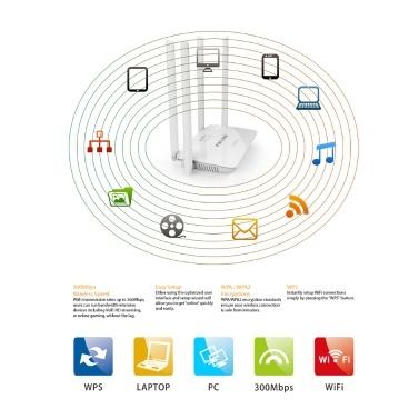 WR08 300 Mbit / s Wireless WiFi Router Repeater Booster 5 Ports RJ45 802.11N Einfache Einrichtung Vier Antennen für den EU-Heimstecker
