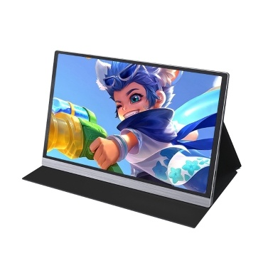 AOSIMAN Portable 15.6inch 1080P LCD Screen 47% NSTC 16.7 Million Colors Gaming Monitor Portable Display IPS Panel Fast Response Touch Screen EU Plug