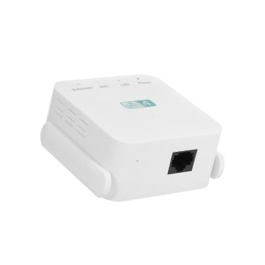 300 Mbit / s Wireless Repeater WiFi Range Extender WiFi-Signalverstärker mit Doppelantenne RJ45-Port Weiß EU-Stecker