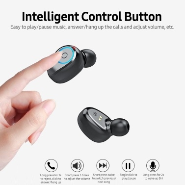 Wireless BT Headphone 8D Surround Stereo Sound In-ear Sports Earbuds with Intelligent Control Button Power Bank Function White