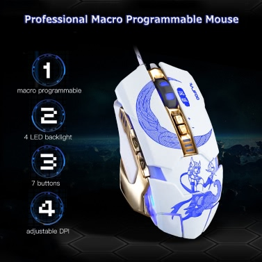 Rajfoo SmartFox Professional Optical Esport Gaming Mouse Macro Programmable  Mice 7 Buttons 3200DPI Adjustable Breathing LED Light USB Wired for Pro
