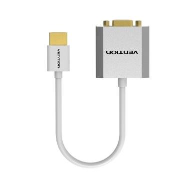 ACHTUNG HD-zu-VGA-Adapter 1080P-Videokonverter-Anschlusskabel mit Audioanschluss und Netzteil für PC-Laptop-TV-Projektor (weiß)
