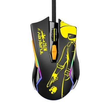 Kabelgebundene Gaming-Maus RGB Ergonomische Maus 8 Programmierbare Tasten 800/1200/1600/2400/4800/6400DPI / RGB Licht / Plug & Play Gelb