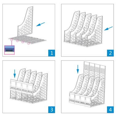Comix B2176 Office Desktop Plastic Magazine File Literature Holders Organizer Labels 6 Compartment