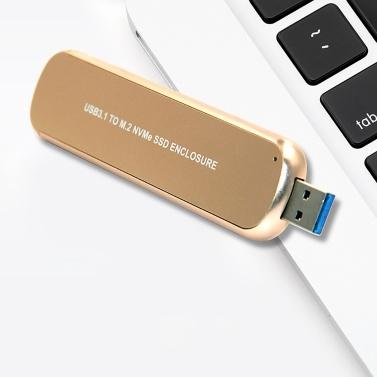 Portable Hard Drive Enclosure USB3.1 to M.2 NVMe SSD Enclosure Aluminum Alloy Mobile Hard Drive Case Silver