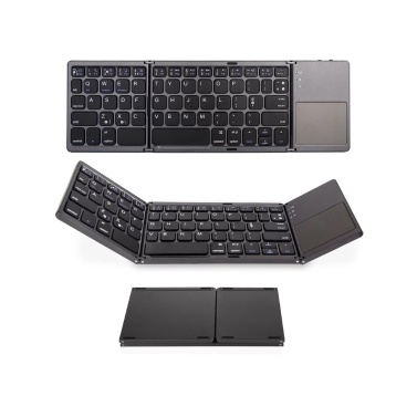 Wireless BT Keyboard Folding Keyboard Portable Ultra Slim BT Keyboard with Touchpad for Windows/Android/iOS Grey