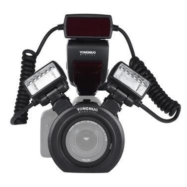 YONGNUO YN24EX E-TTL Makro Blitz Speedlite 5600K mit 2pcs Flash Köpfe und 4pcs Adapter Ringe für Canon EOS 1Dx 5D3 6D 7D 70D 80D Kameras