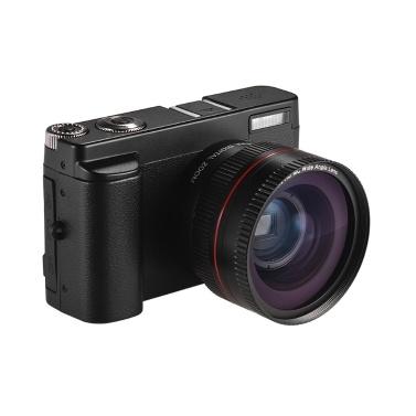Appareil photo numérique portable Full HD 1080p 24MP DC avec écran de 3 pouces Prise en charge de la prise de vue photo et vidéo Zoom numérique 16X Connexion Wifi Détection de visage Détection de visage Fonction anti-shake Beauty avec objectif ultra grand angle 2 piles