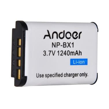Andoer NP-BX1 Lithium-Ionen-Batterie 3.7V 1240mAh für Sony Cyber-Shot-Serie DSC MX100 II RX1R HX300 HX50V WX300