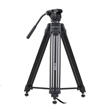 Kingjoy VT-2500 152cm/5ft Camera Camcorder Tripod  with 360° Fluid Damping Head/ Stable Middle Support/ Nail Foot Mg-Al Alloy Max. Load 8kg/18Lbs with Carry Bag for Canon Nikon Sony DSLR ILDC
