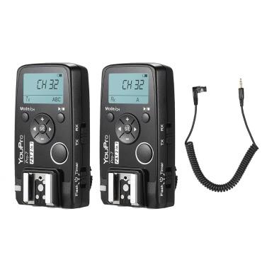 YouPro Pro-7 Wireless Shutter Timer Remote Flash Trigger 2in1 DC0 2.5mm PC Sync & Shutter Cable Nikon D810 D800  D700 D500 D5 D4 D300 D300S D3 D3s Camera
