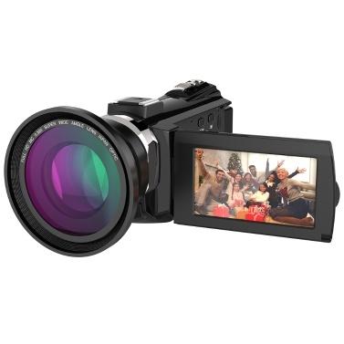 Andoer 4K 1080P 48MP WiFi Digital-Videokamera mit 0,39 X Weitwinkel-Makro-Objektiv
