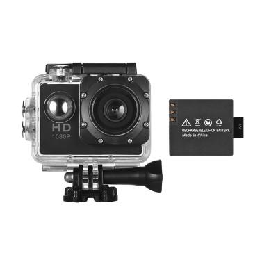 Caméra Web Action Sport Mini DV VGA HD avec 1 batterie détachable Support d'écran 2 pouces LCD Détection de mouvement Cyclic Record 30 m Noir étanche