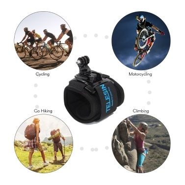 TELESIN 360 Degree Rotatable Wrist Strap Arm Mount Band Holder for Cycling Motorcycling Mount Outdoor Activities for GoPro Hero 7/6/5 Xiaomi Yi 4K SJCAM Action Sports Cameras