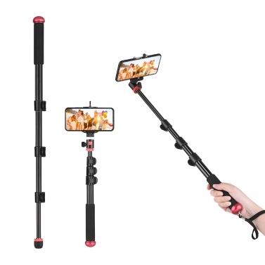 KINGJOY Multifunktions-Aluminiumlegierung Selfie-Stick mit verstellbarem Telefonclip Mini-Kugelkopfkamera-Camcorder-Monopod-Unipod-Pole-Walking-Klettern-Clip-Clip zum Verriegeln von Teleskop 4 Abschnitten für iPhone X / XS / 8P Huawei Samsung Action Camera