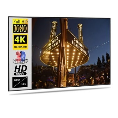 Folding Metal Layer Light Resistant Projector Screen Portable Movie Reflective Screen (60inch, 16:9)