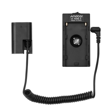 Andoer NP-F970 F750 Battery Plate Holder Adapter with Dual USB Interface + LP-E6 Dummy Battery Coupler