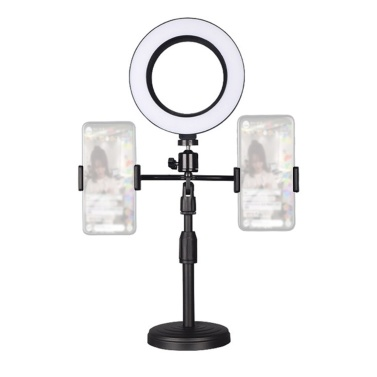 Cell Phone Stand with Ring Light and Dual Holders