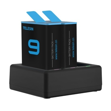 TELESIN Triple Slot Battery Charging Dock with 2Pcs Batteries Accessories