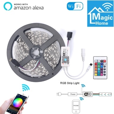 5M Smart WIFI Control Color Changing LED 5050 RGB Light Strips Compatible with Amazon Alexa Sync to Music
