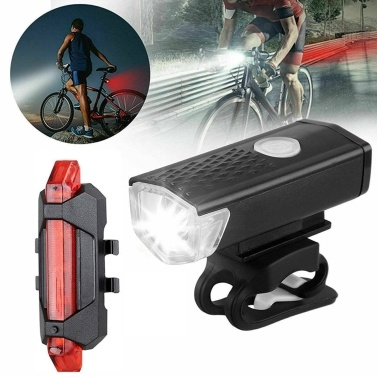 3 Light Modes Ultra Bright USB Rechargeable Bike Light Set LED Lights for Bicycle IP65 Waterproof Powerful Bicycle Front Headlight and Back Taillight