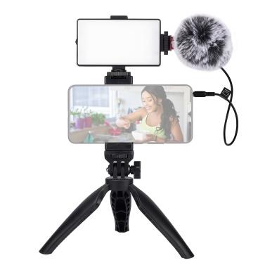 Kit Vlogging per telefono per registrazione video con microfono Batteria incorporata Parabrezza con luce a LED con morsetto per telefono Treppiede Shock Mount e cavo TRS/TRRS